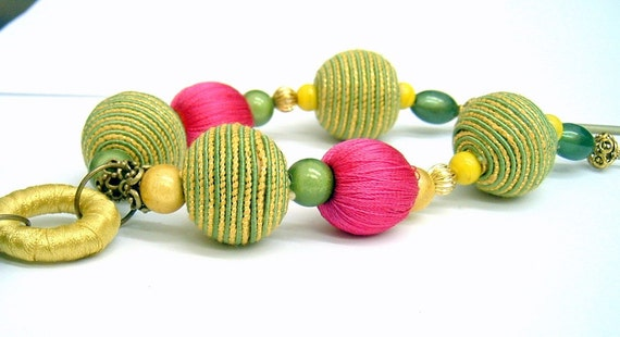 20% off Spring Sale - Boho Chic Necklace  - Green, pink and yellow beads
