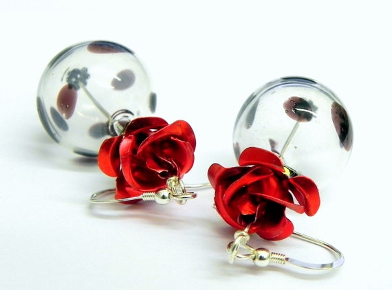 Hand Blown Glass earrings - Clear with black dots and red roses