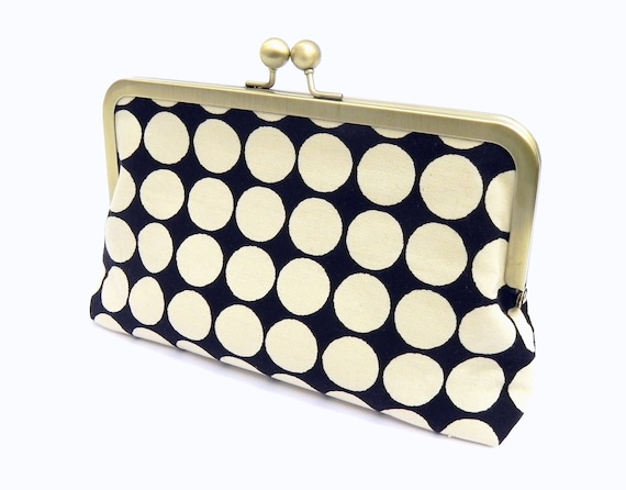 Black and Cream Polka Dots Clutch