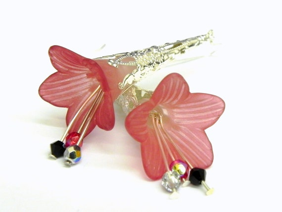 20% off Spring Sale - Red Trumpet lucite Flower Earrings - Silver Filigree Cone