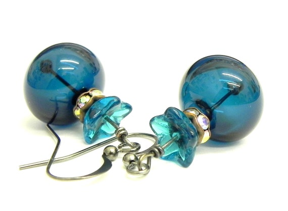 20% off Spring Sale - Teal Blue Lampwork Beads Earrings - Artisan Made
