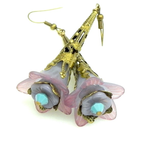 Lucite Trumpet Flower Earrings - Purple and turquoise -  Brass Filigree Cone