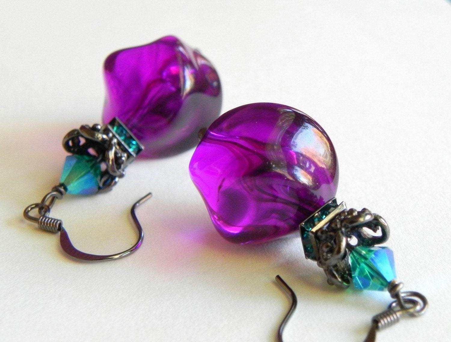 purple and turquoise earrings lucite by