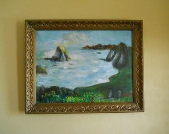 California Sea Scape Painting Signed Beatrice Sprecher 1966