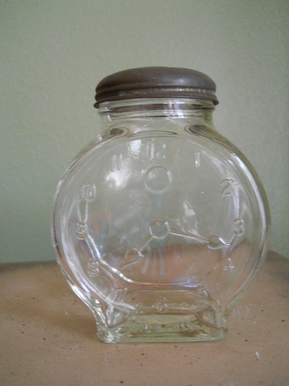 Glass Jar Shaped Like Clock