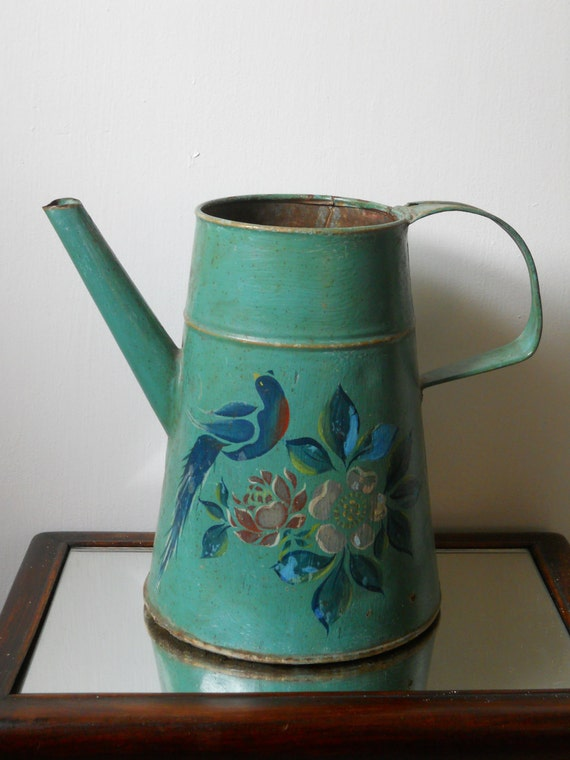 Tole  Pitcher with Peacock