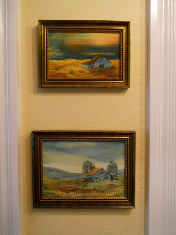 Pair of signed miniature oil paintings