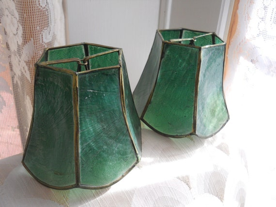 Capiz Shell Shades for sconces in green