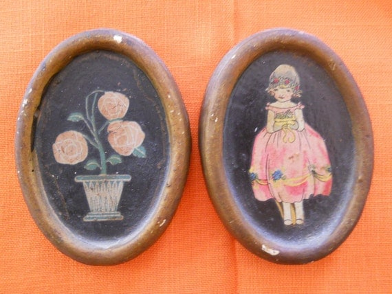 Tiny Plaster Hand Painted Paintings