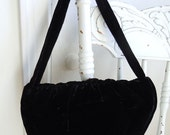 1950s Velvet Purse // Black Velvet Special Occasion Purse // Koret Purse