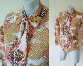 1970s bodysuit blouse // 70s nylon blouse // retro leotard bow blouse