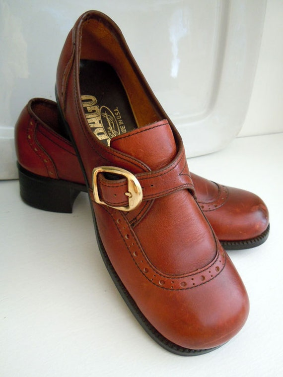1970s vintage chestnut leather back to school shoes by Sebago