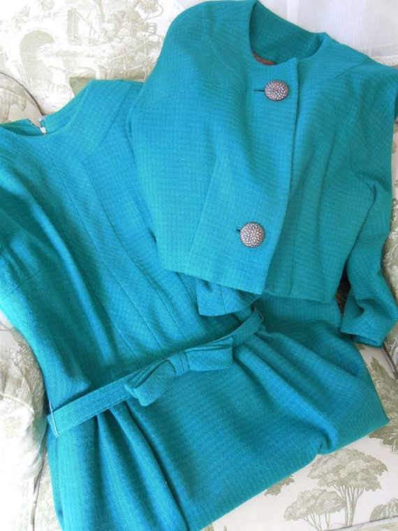 1950s Wool Dress // Two-piece Suit Dress // Turquoise Dream Dress