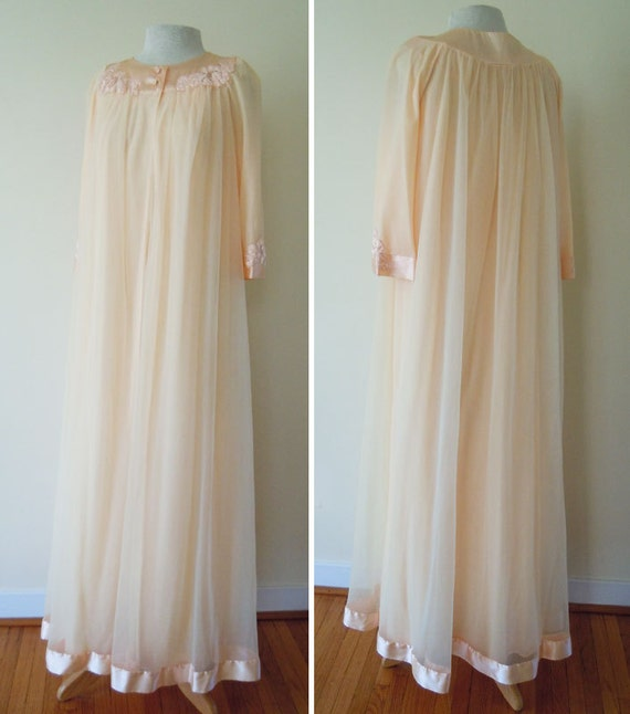 1960s peignoir set // 60s double chiffon long gown and robe // peach Gossard Artemis peignoir