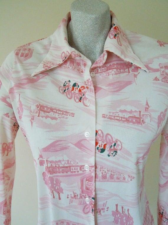 1970s bodysuit blouse // 70s nylon blouse // Tour de France shirt