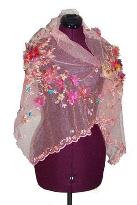 on sale Women Pink Sweet Breeze Floral Embellished Scarf Shawl - On Sale