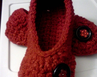 Ladies Slippers / Womens Slippers / Crochet Slippers / Deep Red,  YOUR size...