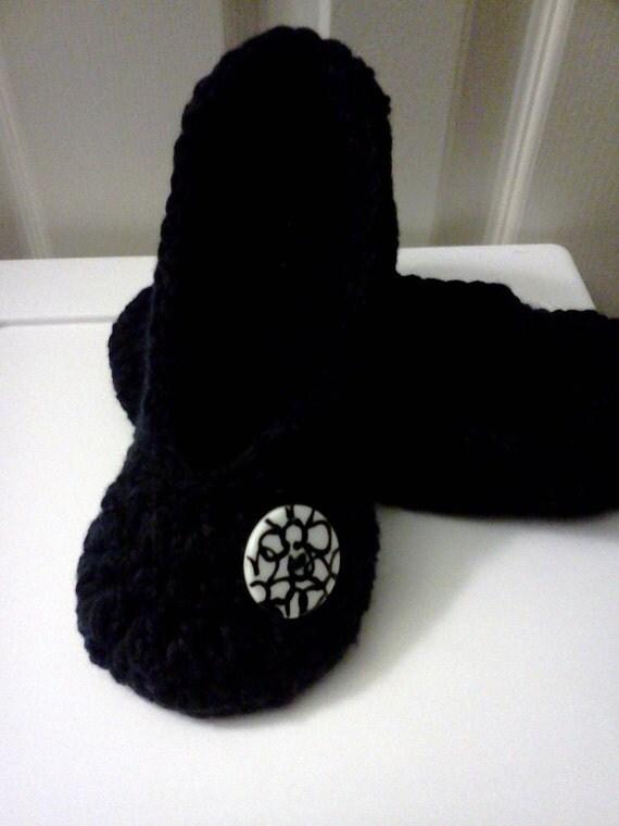 Women's Crochet Black Slippers | Black Crochet Slippers | Hand Crochet Slippers | House Shoes | Crochet Booties | Slippers