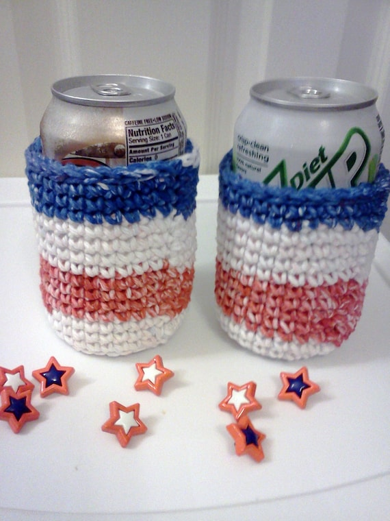 Patriotic Drink Cozies in Red White and Blue