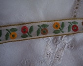 Vintage Woven Ribbon Yellow, Orange and Tan Flowers 1 Yard