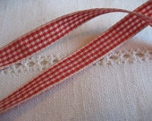 Red Mini Gingham Ribbon 1 Yard