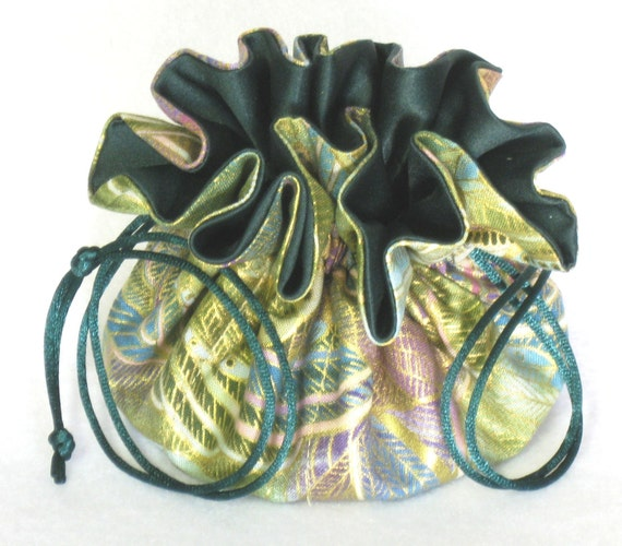 Jewelry Drawstring Travel Tote---Green and Gold Organizer Pouch--Medium Size