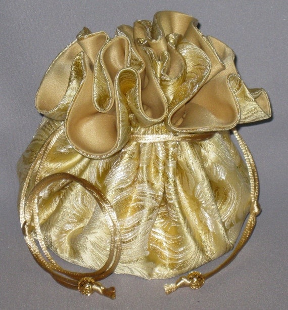 Jewelry Travel Tote---Organizer Drawstring Pouch---Light Gold & White  Floral Satin Brocade---Large Size