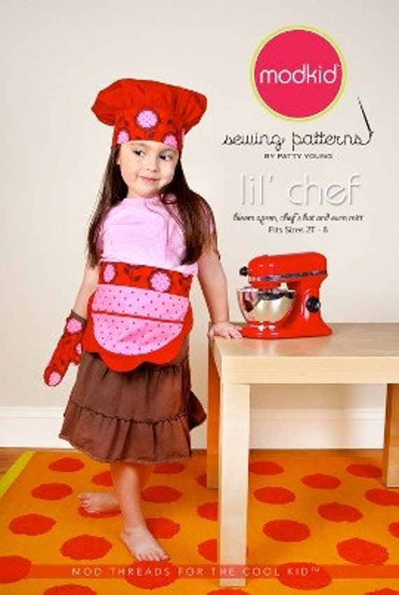 SALE - Lil' Chef sewing pattern - MOD KID - Patty Young bloom apron, chef's hat and oven mit