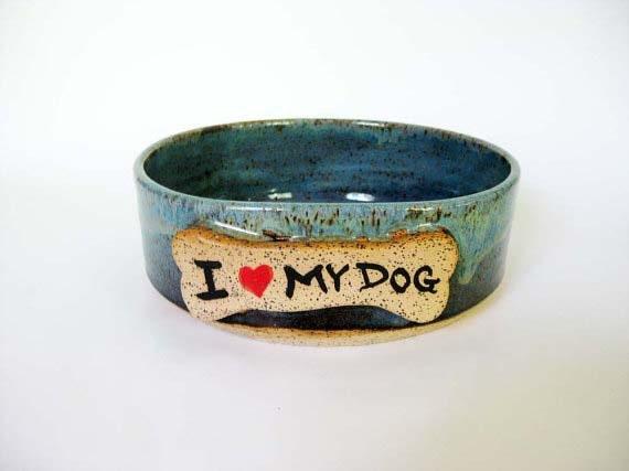 """Large Dog Dish """"I <3 My Dog"""""""