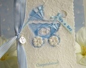 Baby Boy Congratulations Card  with  Iris folded ribbons