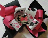 Hot Pink Minnie Mouse Inspired Hair Bow