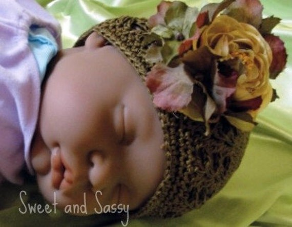 Chocolate Brown Crochat Beanie With Flowers  Newborn - 18 months