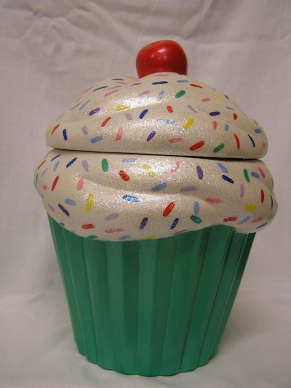 Rainbow Sprinkles Mint Green Crunch Cupcake Jar