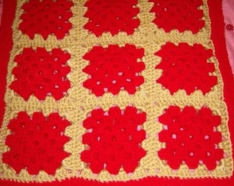 Kitty (or doggy) Afghan Red and Soft Gold Double Layered