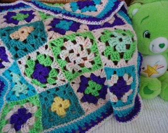 Cuddly and Colorful, Soft, Cuddly Baby Afghan, for Strollers, Car Seats, Bright Colors