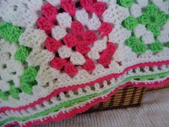 Hot Pink and Lime Green Soft Cuddly Blanket for Girls