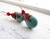 Copper Wrapped Turquoise Colored Gemstone Earrings
