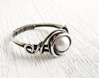 Antiqued Sterling Silver Pearl Ring Wire Wrapped Ring, Bridal Jewelry, Fresh Water Pearl