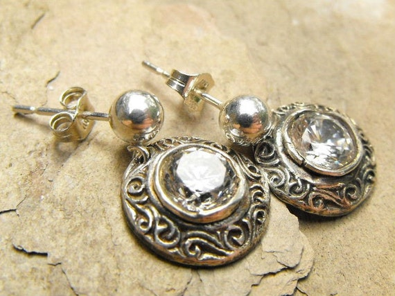Fine Silver Drop Earrings Filigree with White CZ Ball Post