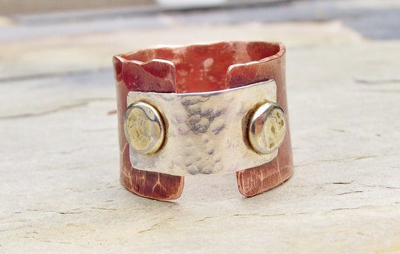 Textured Layered Sterling Copper and Brass Ring Custom