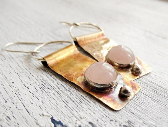Brass and Silver Earrings Pink Quartz  Mixed Metal
