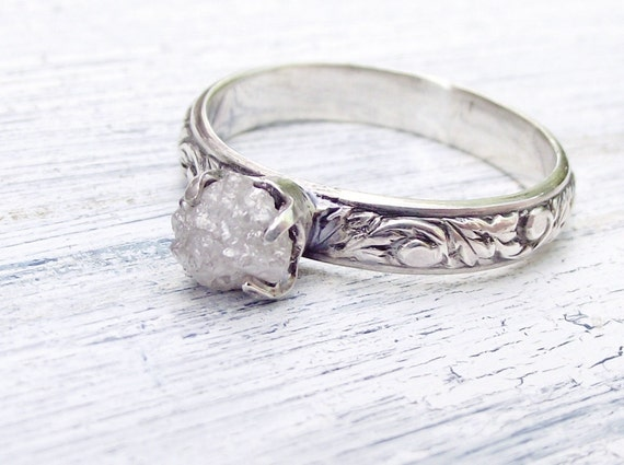 Rough Uncut Diamond Ring Rustic Sterling Silver Size 7
