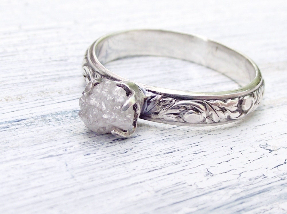 Rough Uncut Diamond Ring Rustic Sterling By Wwcsilverjewelry