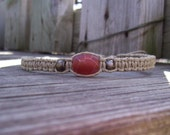 Hemp Ankle Bracelet with Fire Agate and Antique Brass