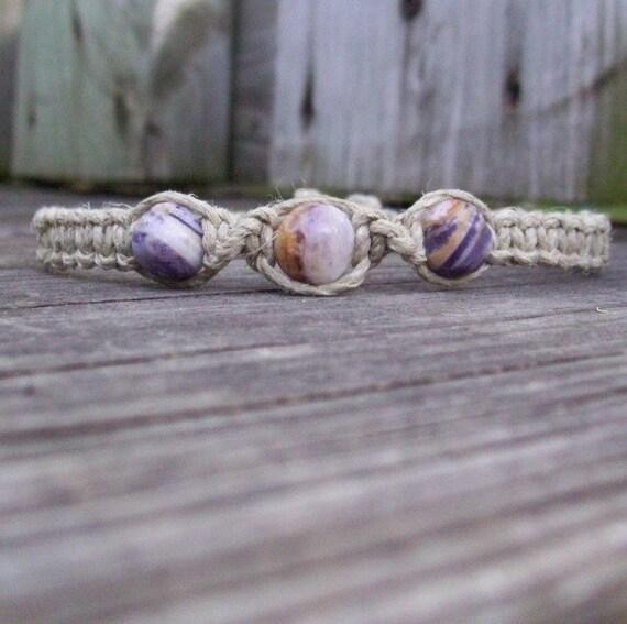Hemp Ankle Bracelet with Purple Jasper
