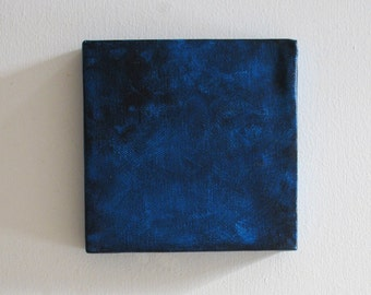 Small Painting - Mini Painting - Square Painting - Small Canvas - Navy Blue Wall Decor - Mini Canvas Art Square-Dark Blue