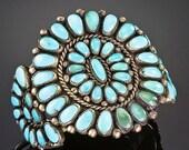 Zuni Vintage A Quam Sterling Turquoise Cluster Bracelet