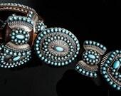 Vintage 1980s Belt Southwestern Santa Fe Sterling Silver Turquoise Concho Belt
