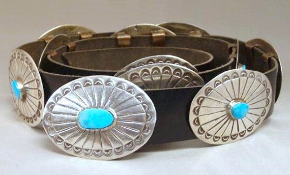 Vintage 1980s Old Pawn Sterling Silver Turquoise Concho Belt