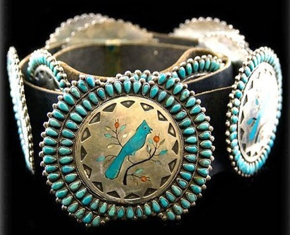 Vintage 1970s Old Pawn Sterling Silver Turquoise Concho Belt Native American Zuni